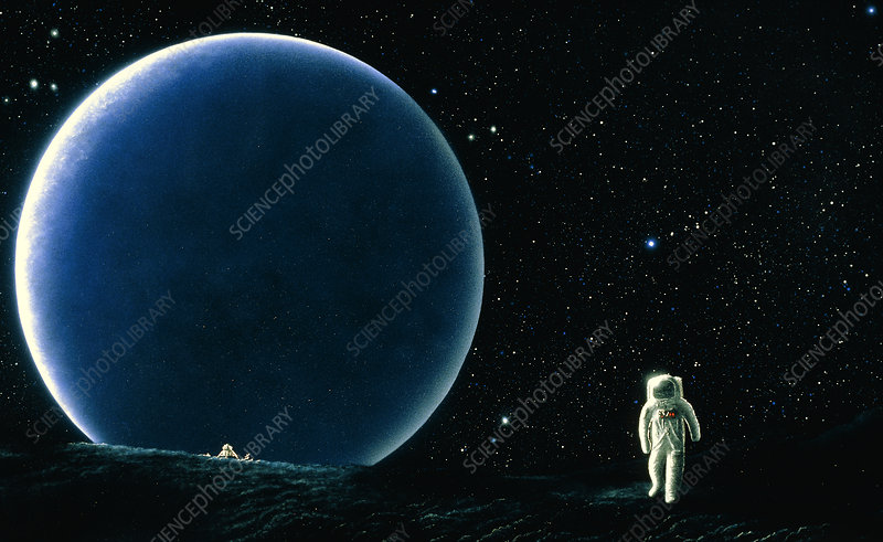 Artist's impression of Armstrong walking on Moon