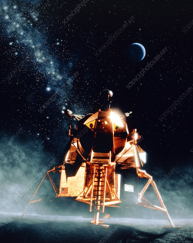 Artwork of Apollo 11 lunar module on the moon