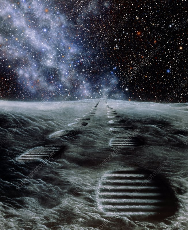 Artwork showing human footprints on the moon