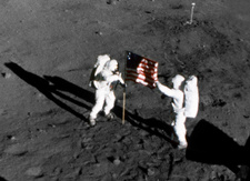 Aldrin & Armstrong planting US flag on moon