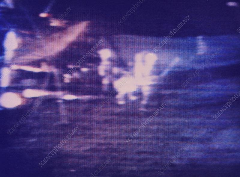 Alan Shephard playing golf on the moon