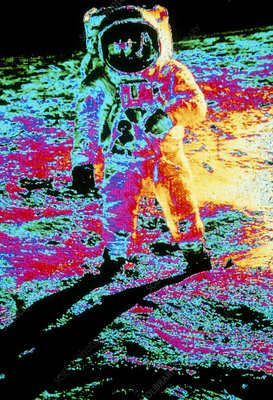 False-colour photo of Buzz Aldrin walking on moon