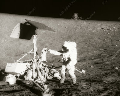 Astronaut Conrad with Surveyor 3 on Moon