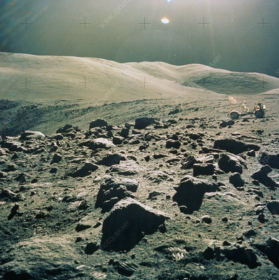 Lunar Rover at rim of Camelot Crater, Apollo 17