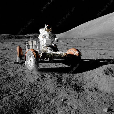 Eugene Cernan on Lunar Rover, Apollo 17
