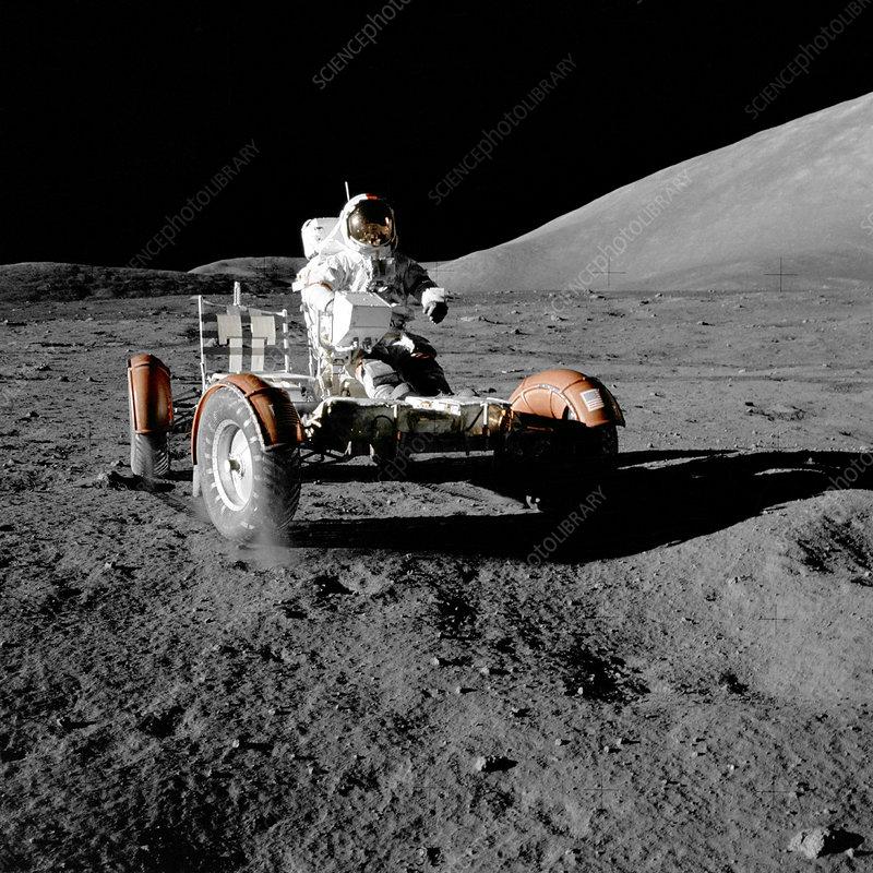 Eugene Cernan on Lunar Rover, Apollo 17