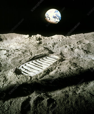 Mock-up of an astronaut's footprint on the moon
