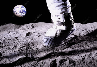 Mock-up of an astronaut's foot on the moon