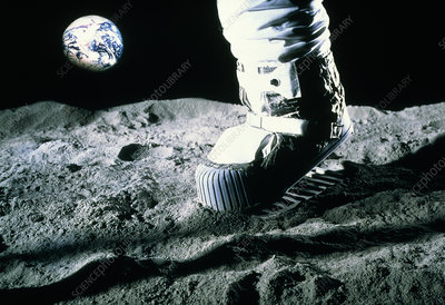 Mock-up of astronaut footprint on moon