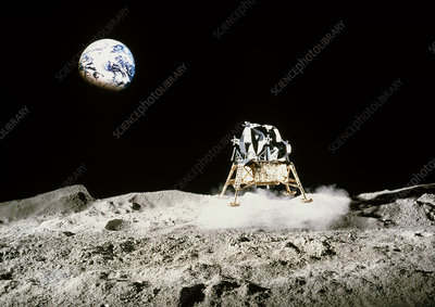 Mock-up of a lunar module on the moon's surface