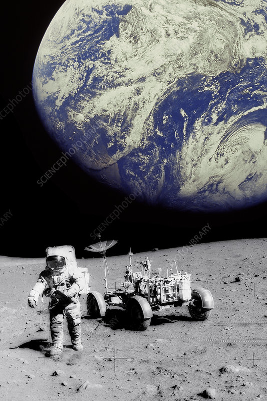 Astronaut on Moon with Earth