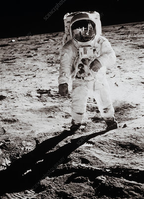 Apollo 11 astronaut Buzz Aldrin walking on moon