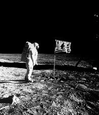 Apollo 11 astronaut Aldrin plants US flag on Moon