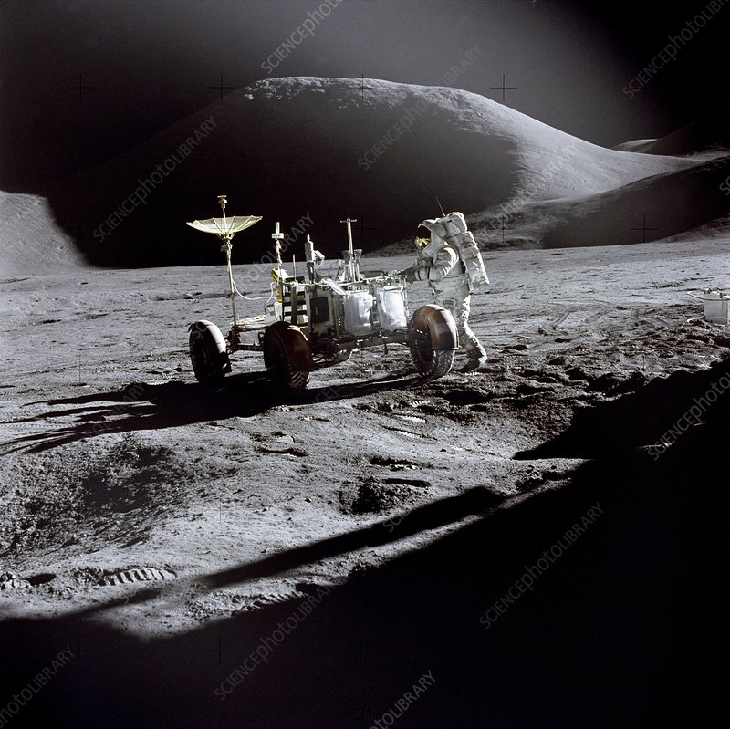 Astronaut and lunar rover, Apollo 15