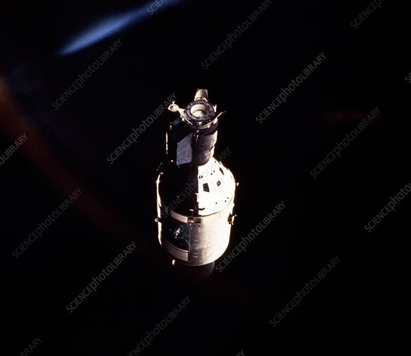 Apollo 18 spacecraft photographed from Soyuz 19