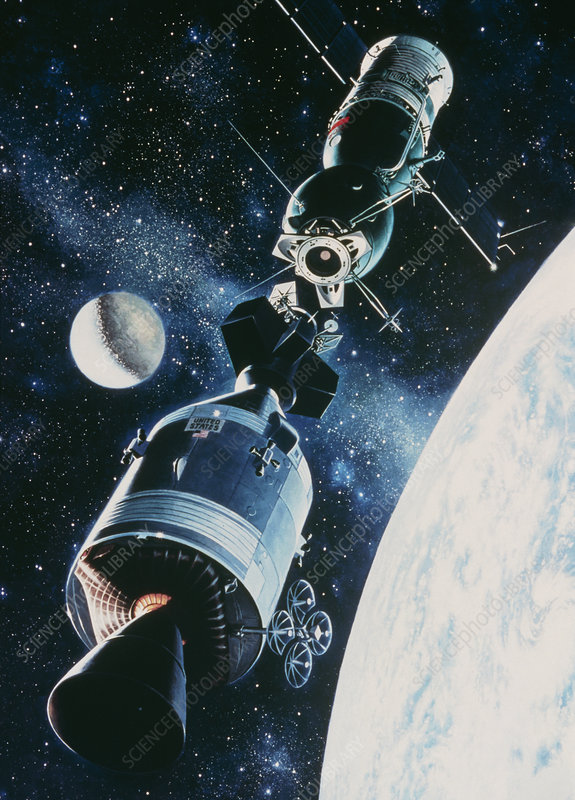 Artwork of Apollo-Soyuz rendevous in space
