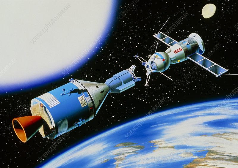 Artwork of Apollo-Soyuz rendevous in space