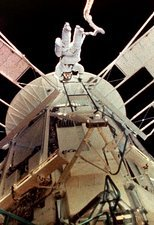 Space walk outside skylab