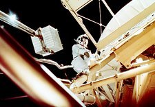 Skylab 3 crew performing extra-vehicular activity