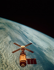 Skylab 1 space station in orbit.