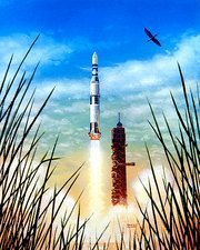 Artist's impression of the launch of Skylab