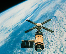 Skylab space station seen from Skylab-4 module