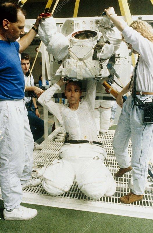 Astronaut Meade preparing for EVA training