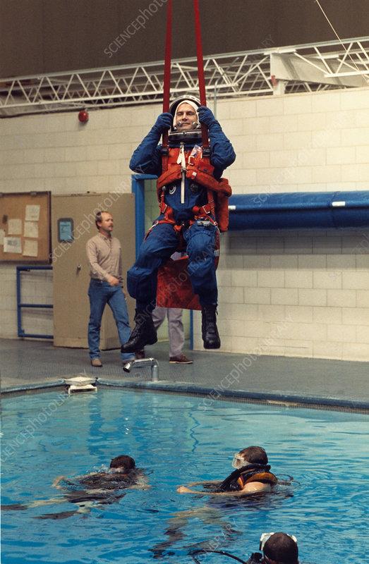 Astronaut Hieb in training for Shuttle flight