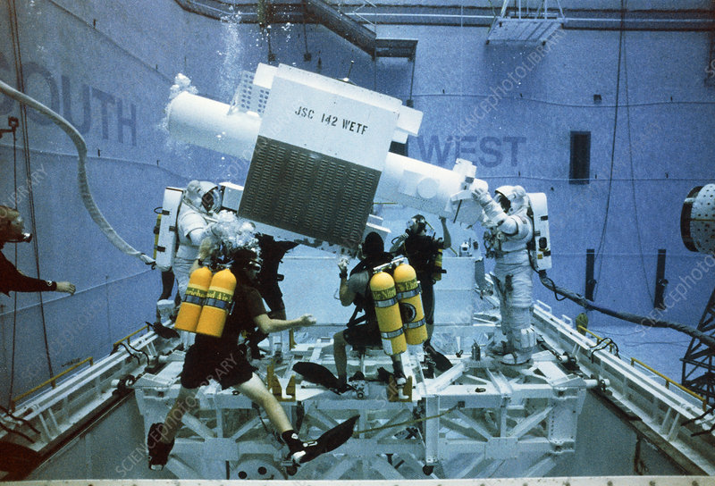 Shuttle crew training in a buoyancy tank