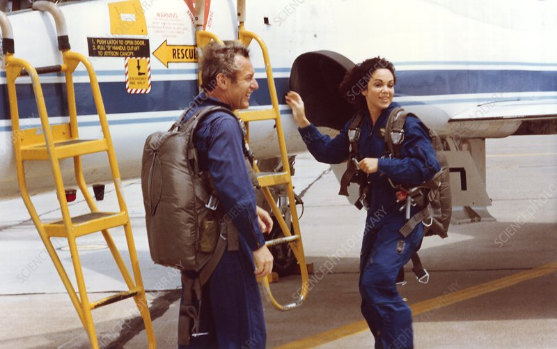 Astronaut Resnick after training flight in 1978