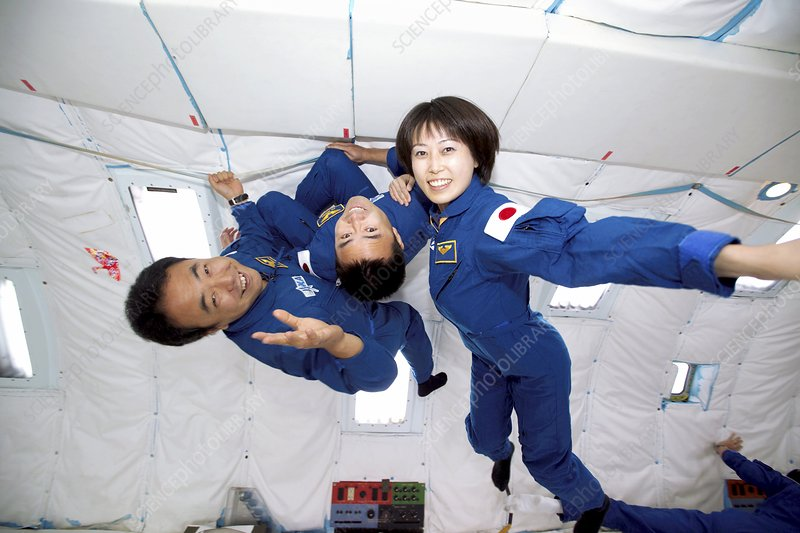 Japanese astronauts training in free fall