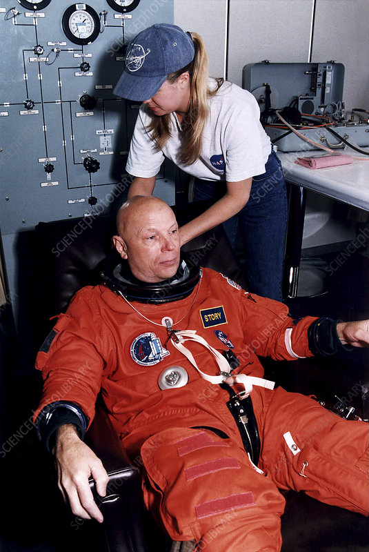 Astronaut Story Musgrave suiting up