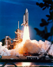 Launch of Columbia, the first space shuttle.