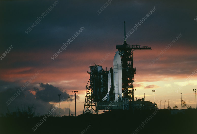 Space shuttle STS-2 on launchpad