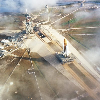 Aerial view of Shuttle STS-6 on way to launchpad