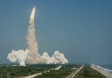 Launch of Discovery shuttle, Kennedy Space Centre