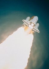 Launch of Shuttle Discovery on STS-41