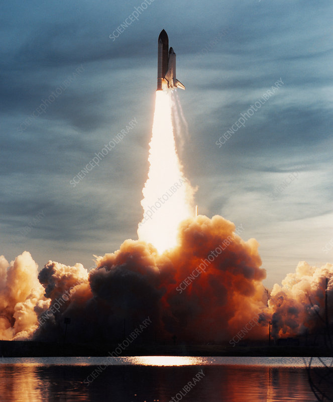 Launch of Discovery, mission STS-48, on 12/9/1991
