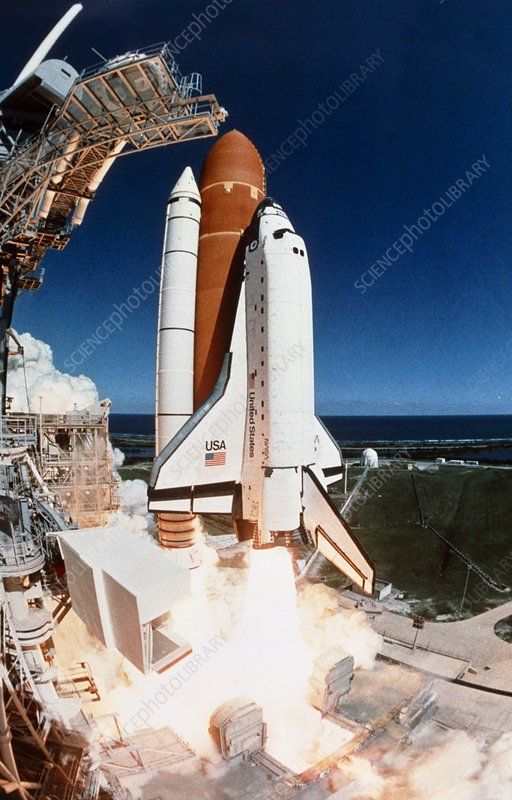 Launch of Shuttle Mission STS-66, fisheye view