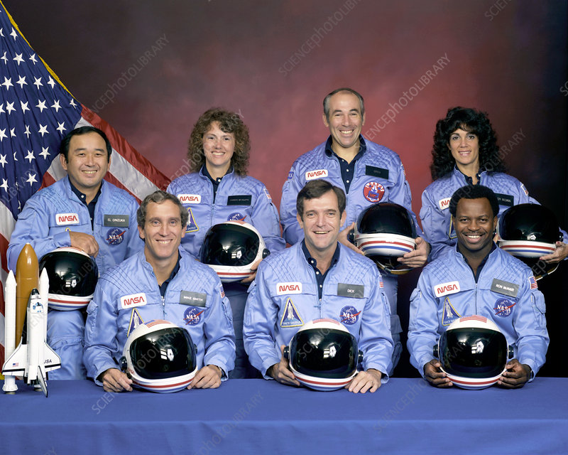 Caption: Crew photograph of the space shuttle Challenger, taken prior to the
