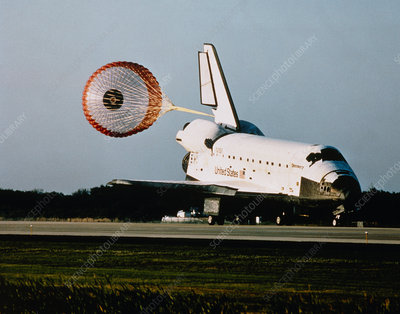 Shuttle Discovery at end of Mission STS-56