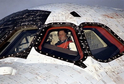 Space shuttle cockpit after landing