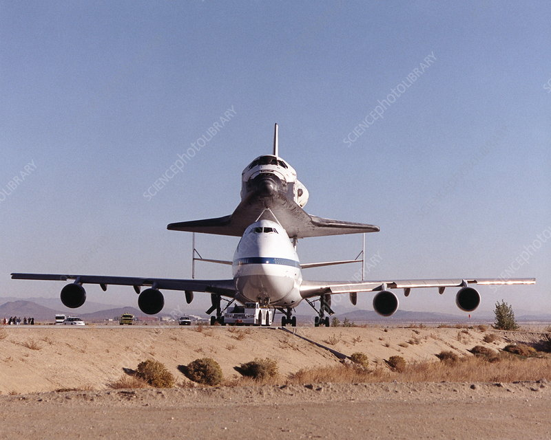 Space shuttle Discovery on a 747