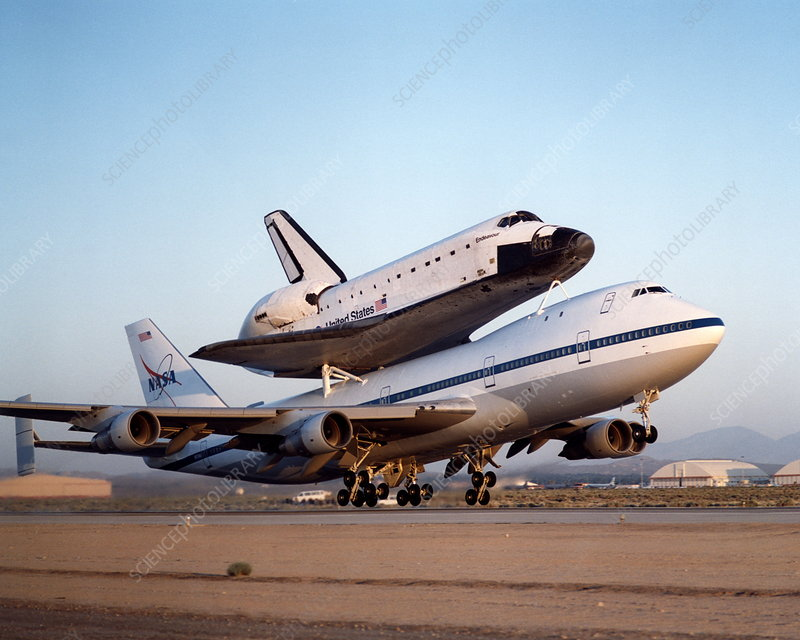 Space shuttle Endeavour on a 747