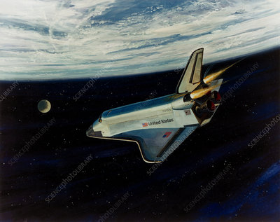 Art of space shuttle re-entry to Earth