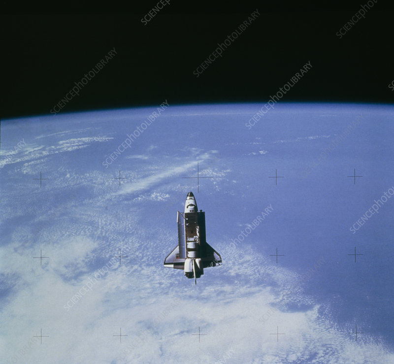 Space shuttle Challenger STS-7 orbiting Earth.