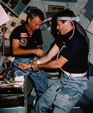 Medical tests onboard shuttle STS-9.