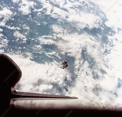 Space Shuttle view of escaped space junk