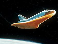 Artist impression of shuttle during re-entry.