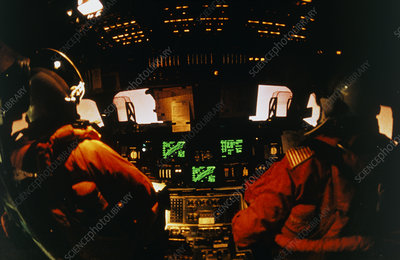 Flight deck of Shuttle during re-entry, STS-42